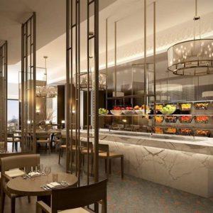 Проектирование ресторана согласно технологическому заданию компанией Profitex. Отель Hilton 5*, ресторан «All Dining Restaurant», Киев. На фото интерьер зала ресторана.