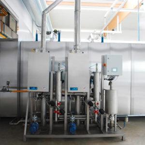 Оборудование для прачечной большой мощности. Отель «Ялта-Интурист» 4*, индустриальная прачечная, Ялта. На фото туннельная стиральная машина Senking Universal от Jensen.