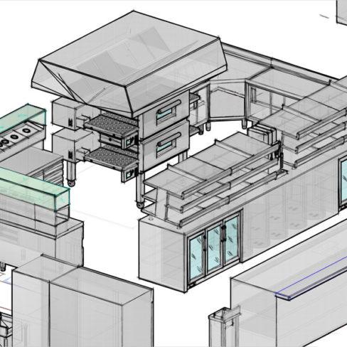 Проектирование ресторана, кафе, фастфуда, бара согласно технологическому заданию компанией Profitex. Стадион Олимпийский, Киев. На фото 3D визуализация проекта, киоск фаст-фуд Пицца.