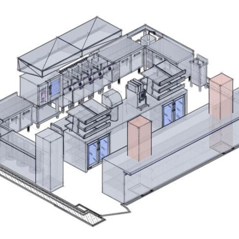 Проектирование ресторана, кафе, фастфуда, бара согласно технологическому заданию компанией Profitex. Стадион Олимпийский, Киев. На фото 3D визуализация проекта, киоск фаст-фуд Картошка-Фри.