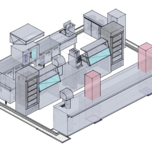 Проектирование ресторана, кафе, фастфуда, бара согласно технологическому заданию компанией Profitex. Стадион Олимпийский, Киев. На фото 3D визуализация проекта, киоск фаст-фуд Выпечка.