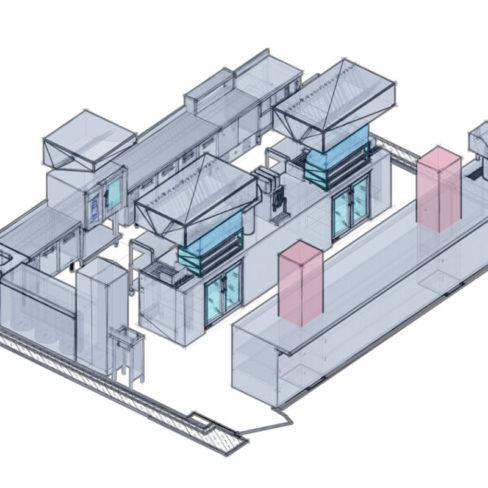 Проектирование ресторана, кафе, фастфуда, бара согласно технологическому заданию компанией Profitex. Стадион Олимпийский, Киев. На фото 3D визуализация проекта, киоск фаст-фуд Супы-Напитки.