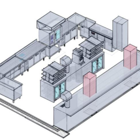 Проектирование ресторана, кафе, фастфуда, бара согласно технологическому заданию компанией Profitex. Стадион Олимпийский, Киев. На фото 3D визуализация проекта, киоск фаст-фуд Сосиски-гриль.