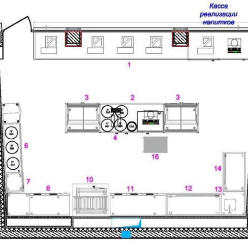 Проектирование ресторана, кафе, бара, фастфуда с нуля компанией Profitex. Стадион Олимпийский, Киев. На фото проект зоны фастфуда.