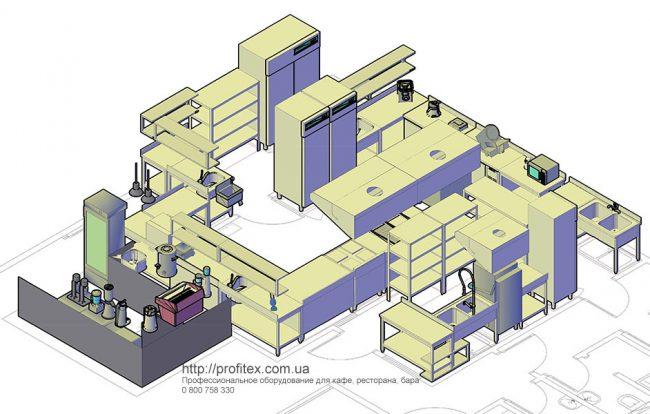 Проектирование ресторана, кафе, фастфуда, бара согласно технологическому заданию. Отель Ibis Вокзал, Украина, Киев. На фото проект, подготовленный специалистами Profitex Украина.