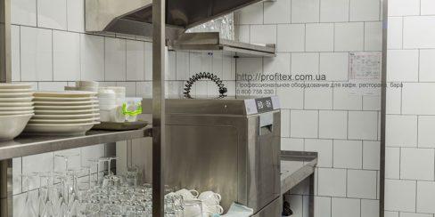 Посудомоечное оборудование большой загрузки для профессиональной кухни заведений общественного питания. Ресторан CICADA Kitchen & Wine Bar, Украина, Днепр. На фото купольная посудомоечная машина Modular.