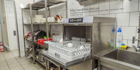 Проектирование посудомоечного цеха компанией Profitex Украина. Ресторан CICADA Kitchen & Wine Bar, Украина, Днепр. На фото специализированное посудомоечное оборудование для ресторана.
