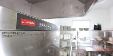 Посудомоечное оборудование Modular для кафе, бара, ресторана. Отель Ibis Вокзал, Украина, Киев. На фото посудомоечная машина купольная HT 53 DT L/DD MODULAR Италия.