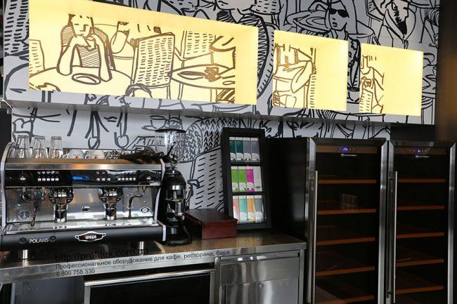 Кофемашины профессиональные для ресторана, бара, кафе, кофейни. Отель Ibis Вокзал, Украина, Киев. На фото кофемашина автоматическая Wega Polaris Италия.