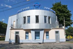 Профессиональное оборудование для прачечной и химчистки. Сеть химчисток АКВАТЕХ Итальянский бульвар, Украина, Одесса. На фото здание химчистки.