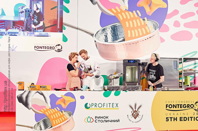 Подбор и установка кухонного оборудования для кулинарных мастер-классов. Шоу кухня на сцене конгресса шеф поваров FONTEGRO, Киев. На фото выступление Joris Bijdendijk.